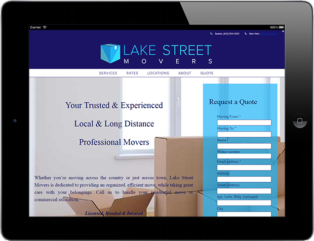 Web Design Lake Street Movers Qdsmedia Seattle Wa